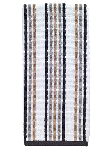T-fal Textiles Striped Waffle 100% Terry Cotton, Highly Absorbent, Anti-Microbial, Oversized Kitchen Towel, 16 x 28, Neutral