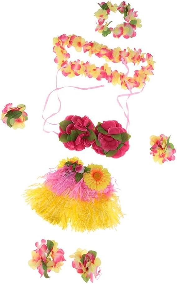 MagiDeal Set/8pcs Falda de Danza de Hierba Hula Hawaiana de Niñas ...