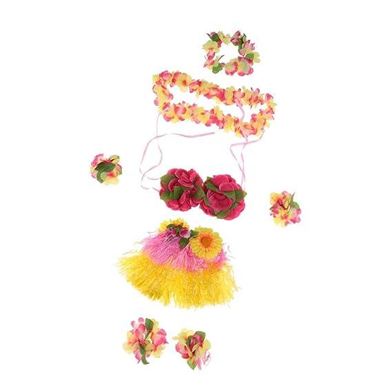 MagiDeal Set/8pcs Falda de Danza de Hierba Hula Hawaiana de ...