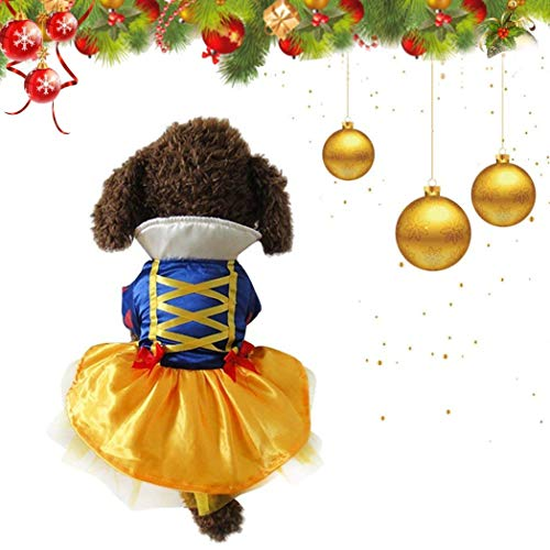 (Youbedo Snow White Dog Costume - Halloween Princess Puppy Dress, Snow White Pet Apparel for Party Christmas Halloween Special Events)