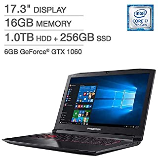 "Acer Predator Helios 300 Gaming Laptop: Core i7-7700HQ, GeForce GTX 1060 6GB, 17.3"" Full HD, 16GB DDR4, 256GB SSD + 1TB HDD, Backlit Keyboard, VR Ready (Renewed)"
