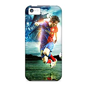 High Quality Shock Absorbing Cases For Iphone 5c-the Player Of Barcelona Lionel Messi Dribbling