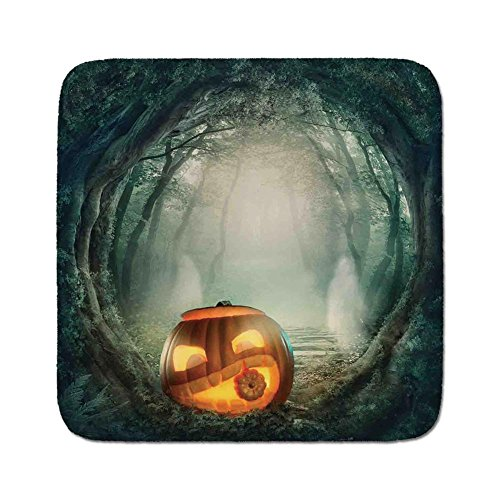 Cozy Seat Protector Pads Cushion Area Rug,Halloween Decorations,Scary Halloween Pumpkin Enchanted Forest Mystic Twilight Party Art,Orange Teal,Easy to Use on Any Surface