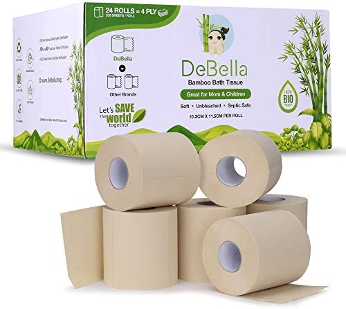 DeBella - 100% Bamboo, Tree Free, Ultra-Soft Toilet Paper, Unbleached, Hypoallergenic, Safe for Sensitive Skin, 4ply- 235 Sheets- 24 Rolls, Septic Safe, Eco Friendly, Plastic Free