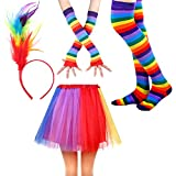 IETANG Women's Rainbow Long Gloves Socks and 3 Layered Tulle Tutu Skirt Party Accessory Set (Color-M)