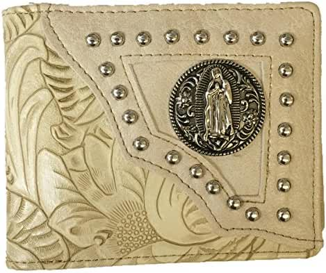 RIDE AWAY Western Virgin Mary Badge Leather Bifold Wallets