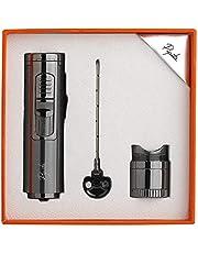 PIPITA Torch Lighter, Cigar Lighter, Windproof Single Torch Refillable Butane Gas Lighter with Punch, Cigarette Lighter