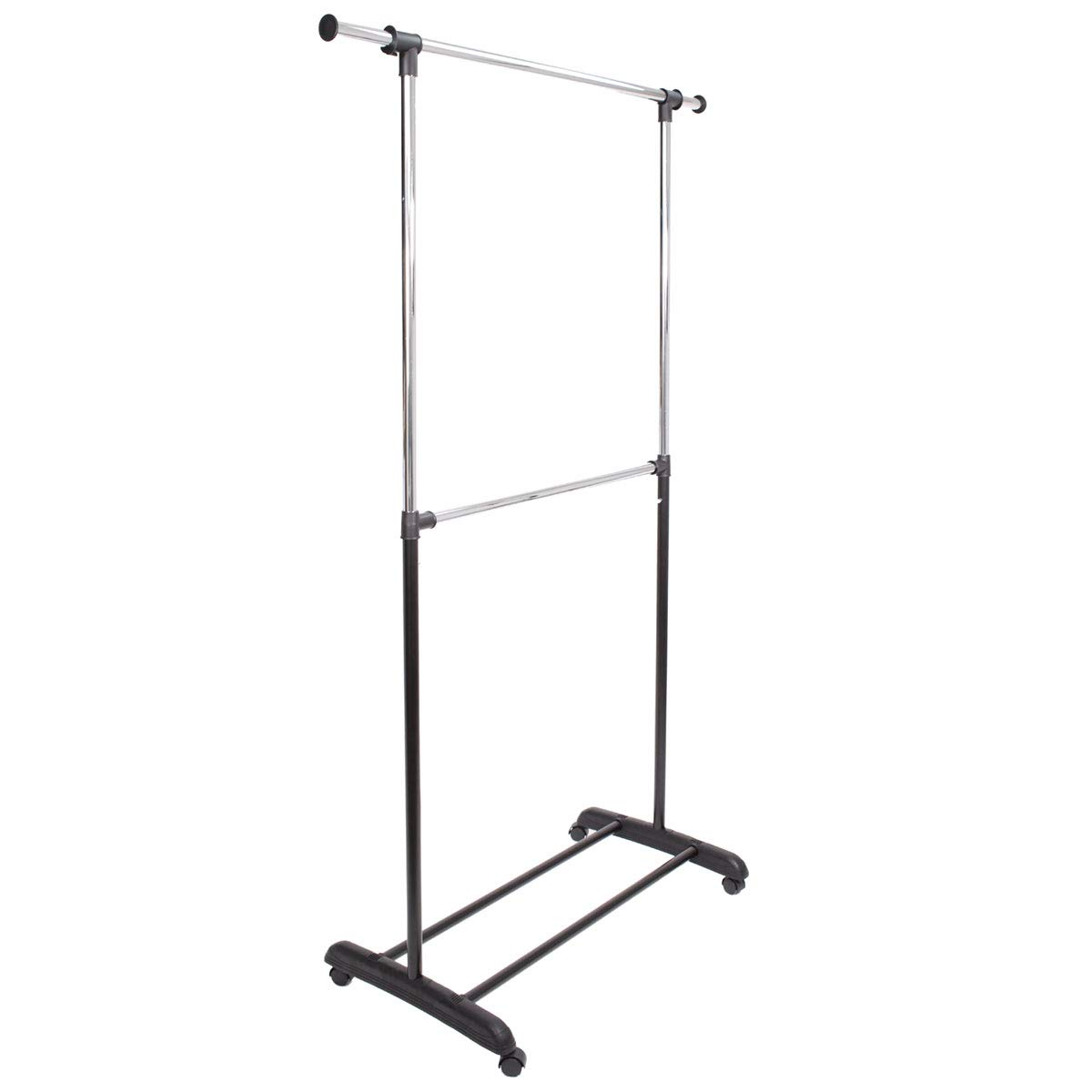 Tidyliving Commercial Grade Clothing Garment Rack with Wheels, Adjustable Heavy Duty Double Rod Hanging Rolling Rack Clothes Stand - Black and Chrome