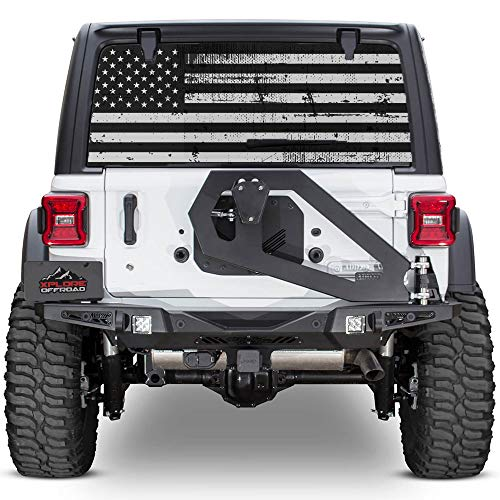 (XPLORE OFFROAD - Jeep Wrangler American Flag Rear Window Decal (Perforated))
