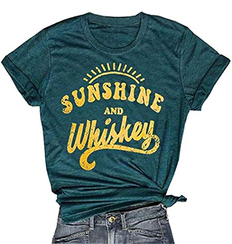 Smooth as Tennessee Whiskey T Shirt for Women Graphic Country Cowgirl Tees Letter Shirts Tops with Sayings (Large, -