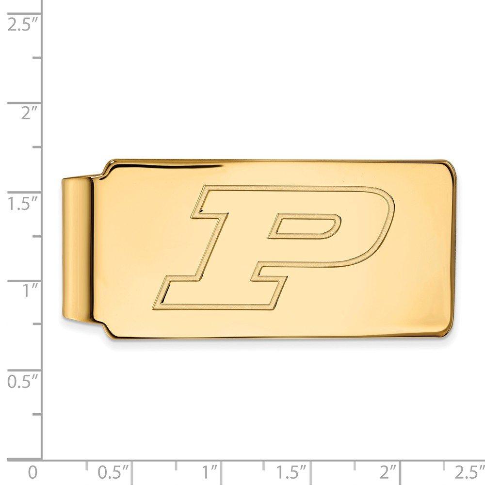 55mm x 26mm Jewel Tie 10k Yellow Gold Big Heavy Purdue Money Clip