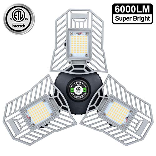 Garage Light 6000 Lm Deformable LED Garage Ceiling Lights 60W CRI 80 Led Workshop Lights for Garage Adjustable Panels Tribright Led Garage Lighting Basement Light 60W Standard