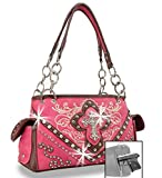Zzfab Cross Embroidered Western Handbag Rhinestone Purse Pink