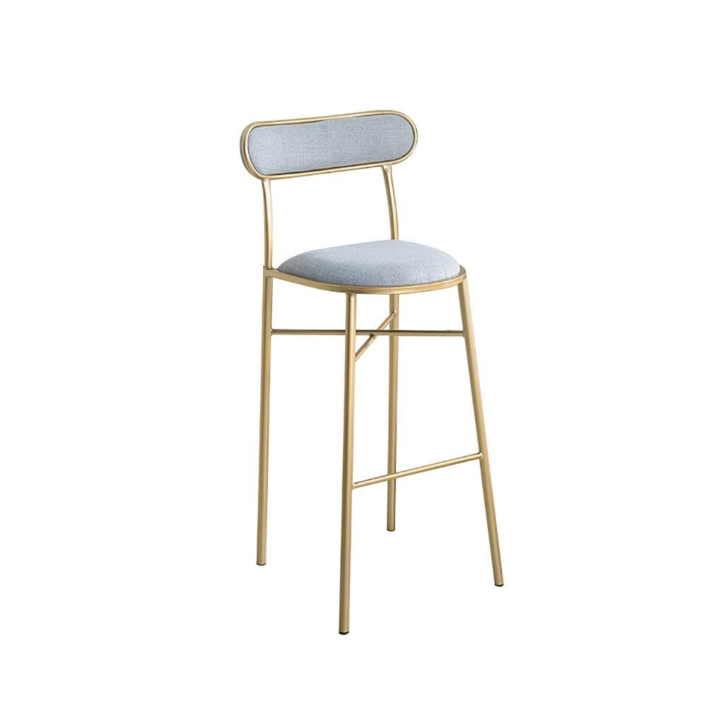 H 75cm Bar Stool, Wrought Iron Bar Chair, Jinjia High Stool, Modern Dining Chair, Firewood Stool, Creative Chair (color   G, Size   75cm)