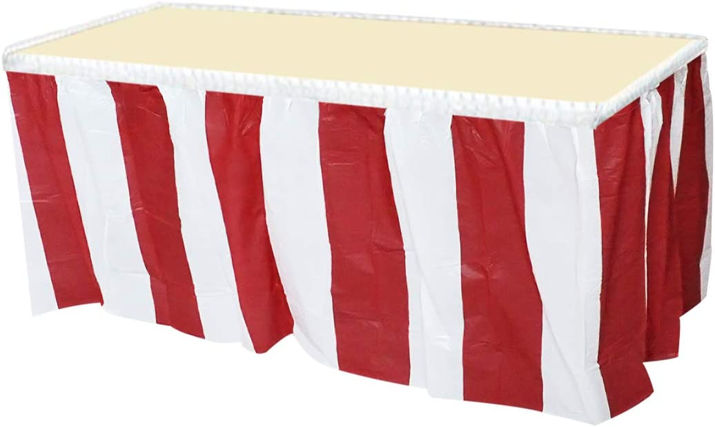 4 Pack Red /& White Striped Table Skirt Carnival Circus Decorations FREE SHIP