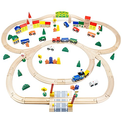 Conductor Carl TCON-201 100-Piece Train Track Town Starter Set Bulk Value Wooden Set with 34 Track Pieces, 12 Cars & Trains, 15 People/Signs, & 39 Trees/Houses - Train Conductor Thomas