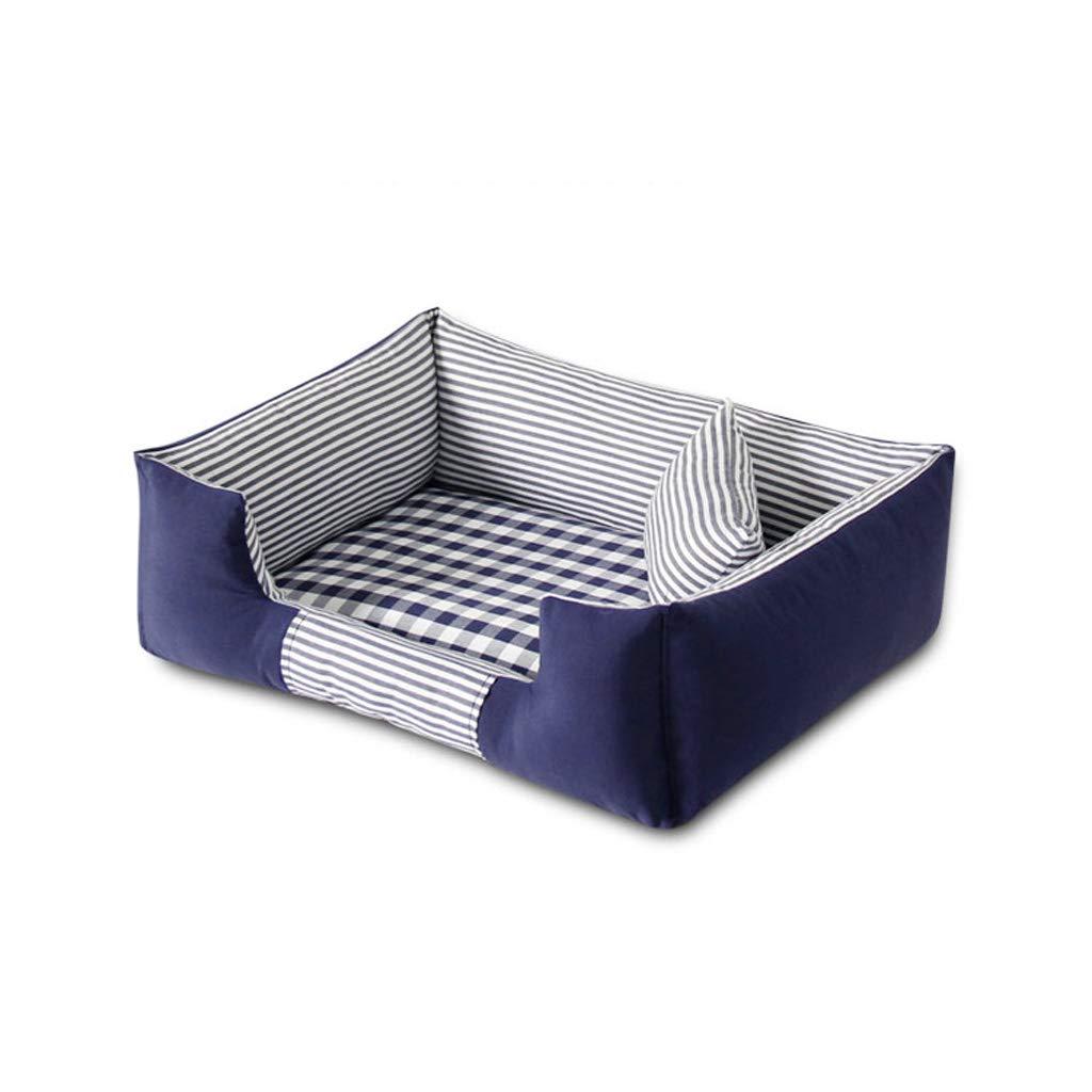 bluee XL 11075cm bluee XL 11075cm LITING Kennel Bite Small And Medium-sized Dog Pomeranian Law Fighting Teddy Bison Keji Shiba Inu Schnauzer Pet Bed (color   bluee, Size   XL 110  75cm)