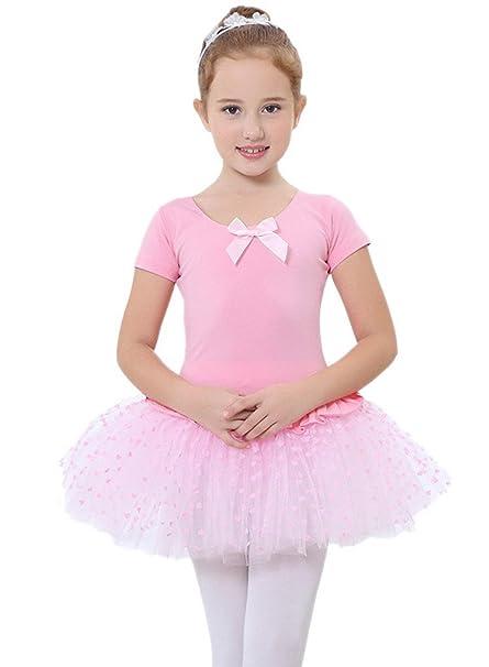 Happy cherry - Vestido Tutú Traje de Baile Ballet Falda tutú Leotarto Clásico Maillot Ropa de Gimnasia de Encaje - Rosa - Talla ES 2-3 años 4-5 años 6 ...