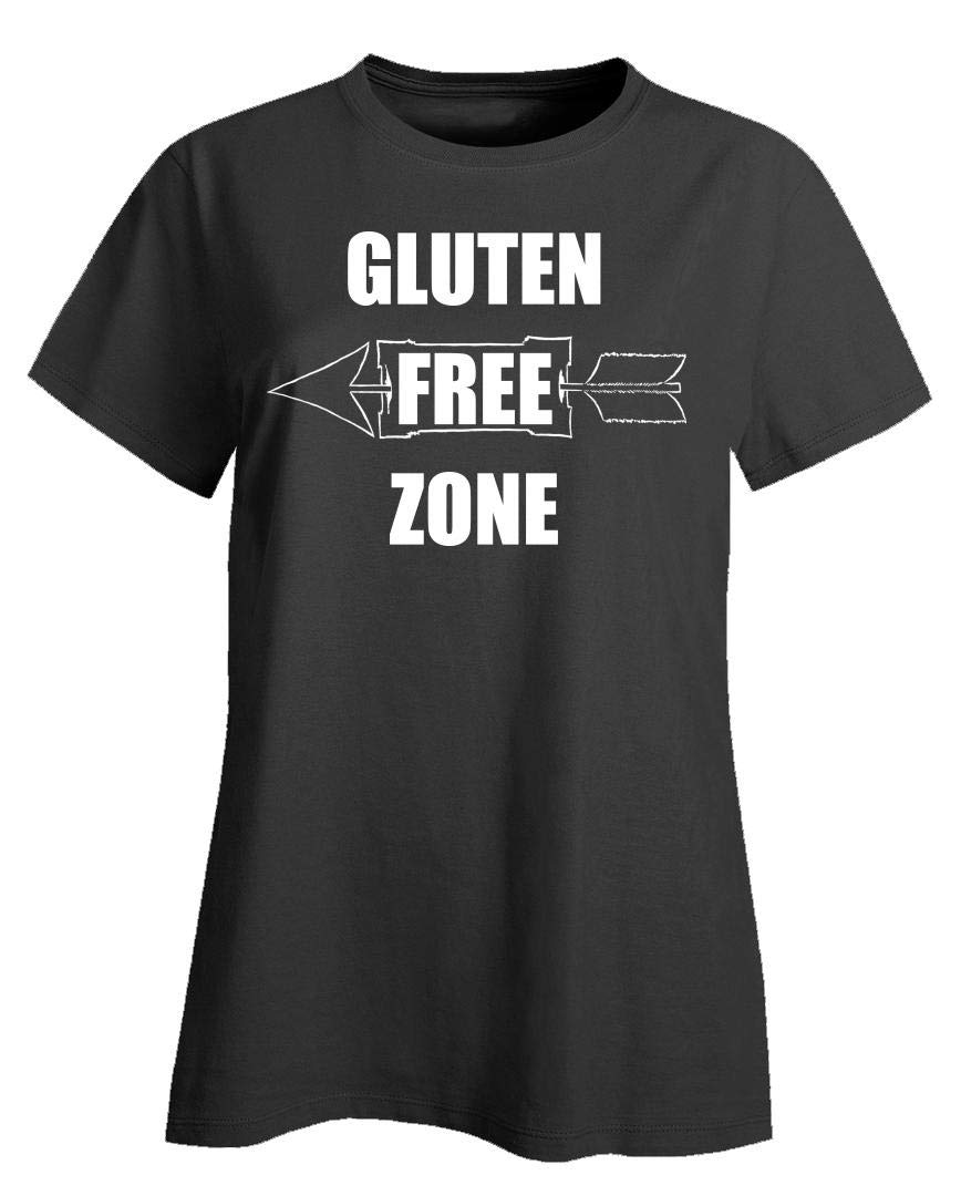 Stuch Strength Funny Gluten - Free Zone - Food Wheat Rye Oats Beans Cabbage Humor - Ladies T-Shirt Black by Stuch Strength