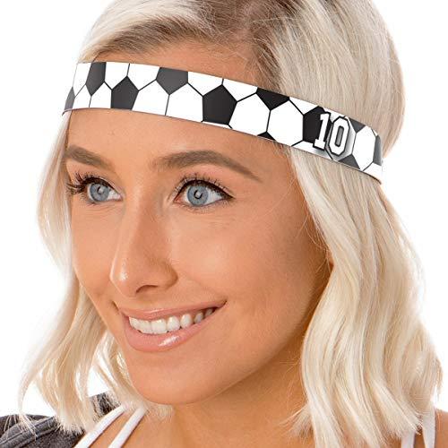 Hipsy Adjustable NO Slip Custom Sports Number Soccer Headbands (Custom Black Soccer 1pk)