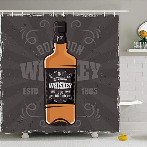 Ahawoso Shower Curtain 72x72 Inches Bartender Brown Bourbon Bottle Whiskey Colored On Food Drink Ange Label Liquor Alcohol Bar Design Waterproof Polyester Fabric Set with Hooks ()