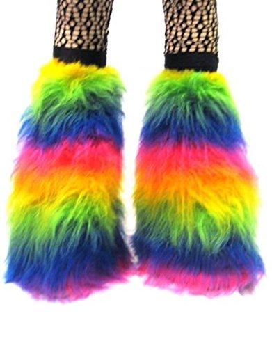 Couvre bottes Insanity Uv Multicoloured Fluffy Fourrure Jambières Néon nTWTg18qxv