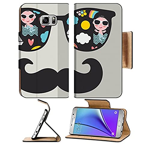 MSD Premium Samsung Galaxy Note 5 Flip Pu Leather Wallet Case Note5 IMAGE ID: 27843436 Retro sunglasses with reflection for hipster Vector illustration of accessory glasses isolated Best print (Light Wit Stand)