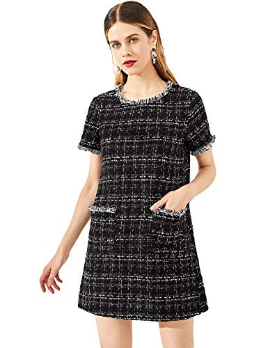 (Floerns Women's Tweed Short Sleeve Shift Tunic Dress with Pockets Black S)