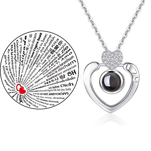 (Inf-way I Love You Necklace, 100 Languages Projection on Round Onyx Pendant Loving Memory Collarbone Necklace 1 Pcs (Heart Diamond Silver))