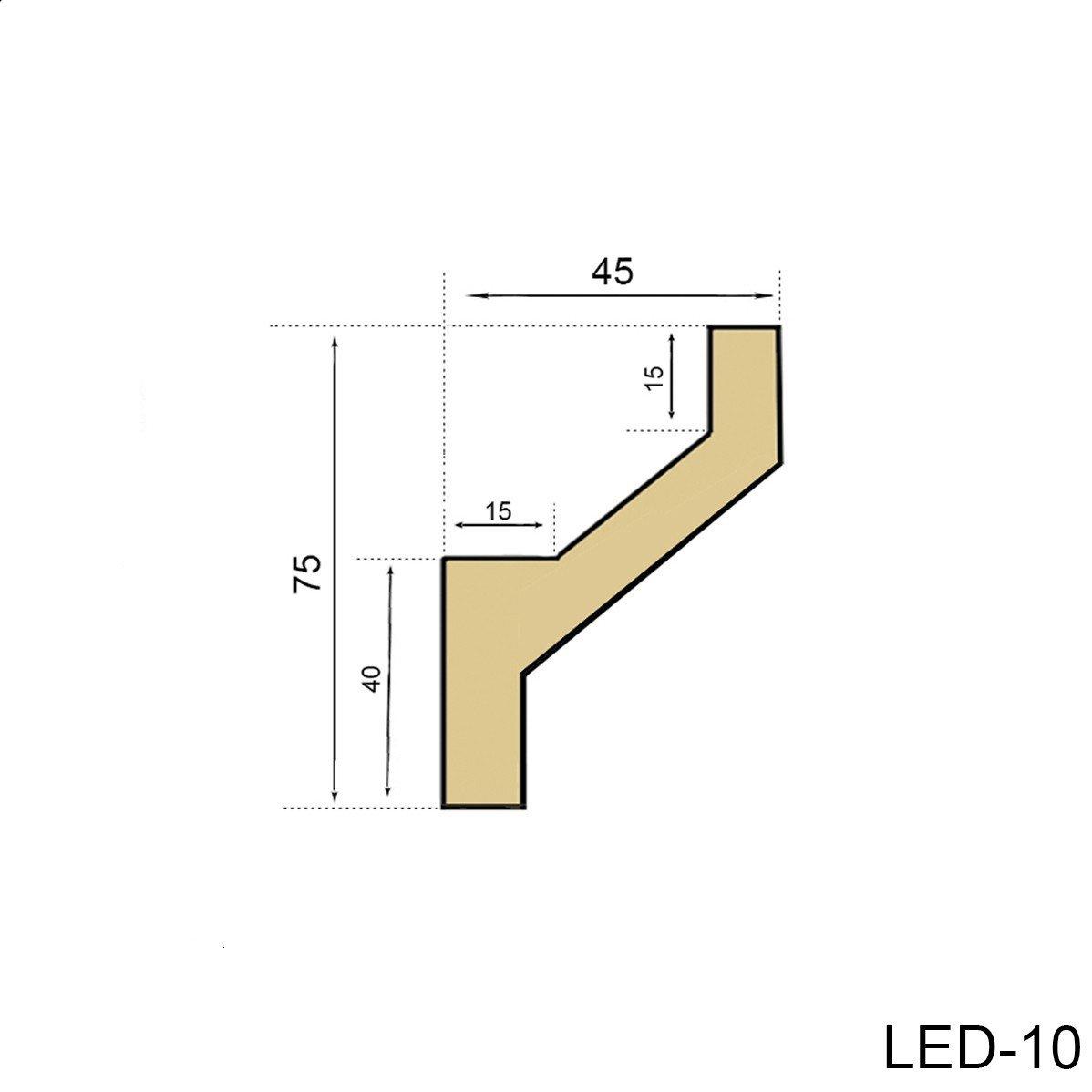 20 Meter PU Stuckprofil Stuckleiste Lichtleiste LED Stuck sto/ßfest 75x45 LED-10