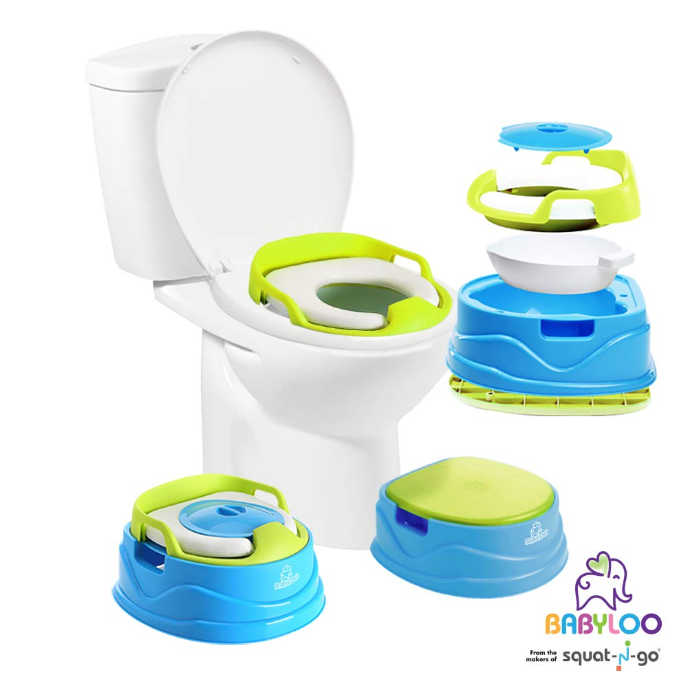 Babyloo Bambino Potty 3-in-1 Multi-Functional Children's Toilet Training Seat - 3 Convertible Stages for 6 Months and up (Blue)