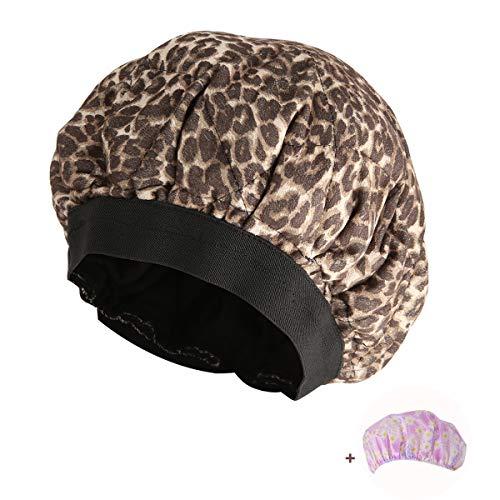 Locisne无绳深层调理热性能热盖,微波炉加热的蒸护发面膜疗法,油处理,亚麻籽种子内部的最大热保留,柔和的自然毛绒棉(豹)