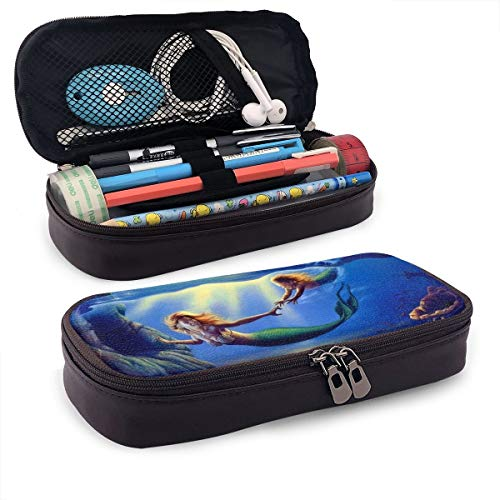 C-Emily Pencil Case Merpeople Big Capacity Storage PU Leather Stationery Organizer Pencil Pouch with Zipper for School & Office -