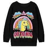Rainbow Unicorn Print Crew Neck Sweatshirt Loose Hoodies Fleece Women (Color : Black, Size : XXL)
