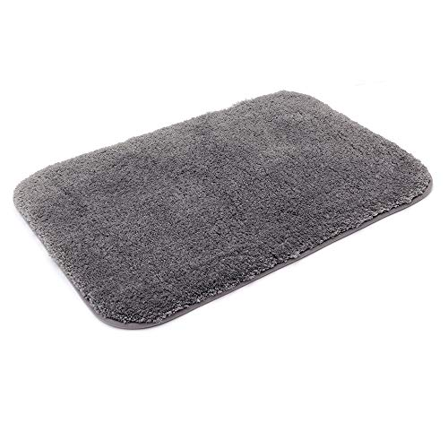 COSYHOMEER 30X20 Inch Bathroom Rug Mat Non Slip 100% Polyester Super Cozy Velvet Machine Washable Fuzzy Rugs with Strong Absorbent Function,Grey (Polyester Rug)