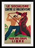 GreatBIGCanvas '''Socialism Against Bolshevism for a Free Europe', 1939-45 (colour litho)'' by School French Photographic Print with Black Frame, 24'' x 36''