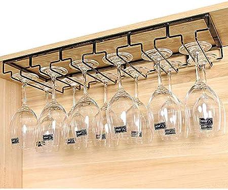 MAJOZ Soporte para Copas de Vino, Estante Colgante para Copas con 6 Rieles, Soporte de Acero para Colgar Copas en la Cocina, Bar o Restaurante, 60 x 22,5 x 5,5cm