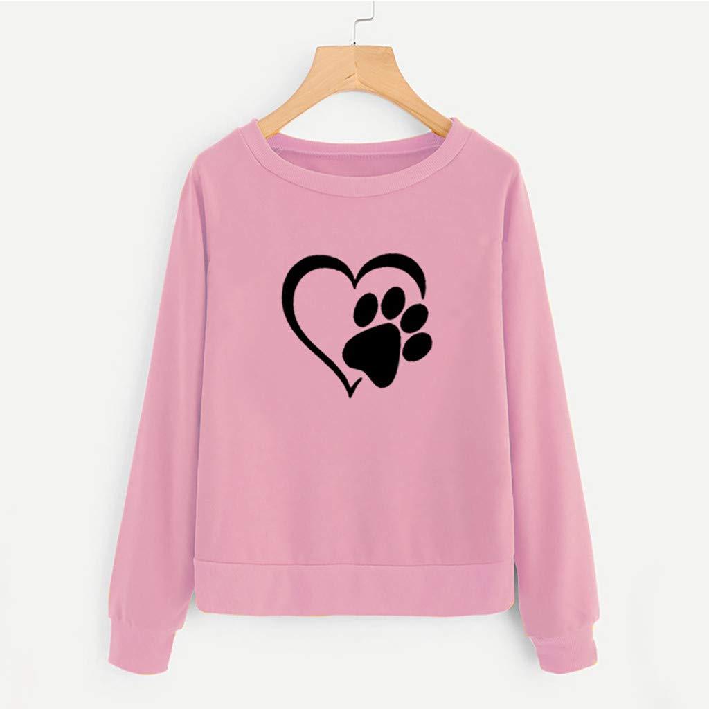Yoyorule Long Sleeve Pullover Sweatshirts for Women Women Printing Round Neck Long Sleeve Casual Blouse Sweatshirt