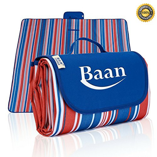 BEACH BLANKET OVERSIZED 80'' x 80'' Sand Proof Beach Mat for Picnic Outdoor Activities Extra Large Mat | Fully Waterproof & Sand Free Tote Foldable Blankets,Towels For Camping - Dark Blue