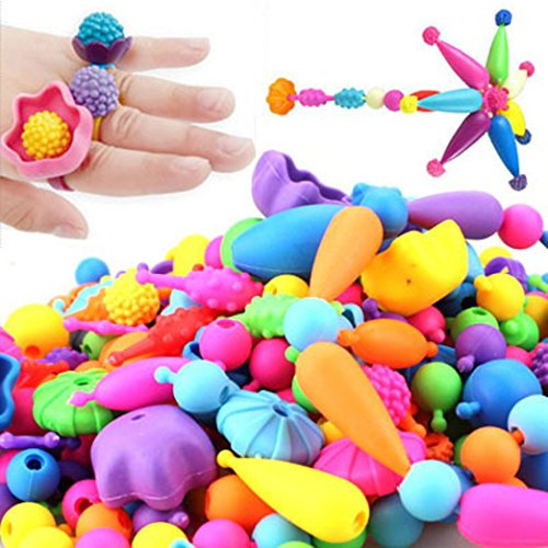 Nacome 50/100/200/400pcs DIY Changed String Beads TOY Intelligence Toys (Babies Lacing Cards)