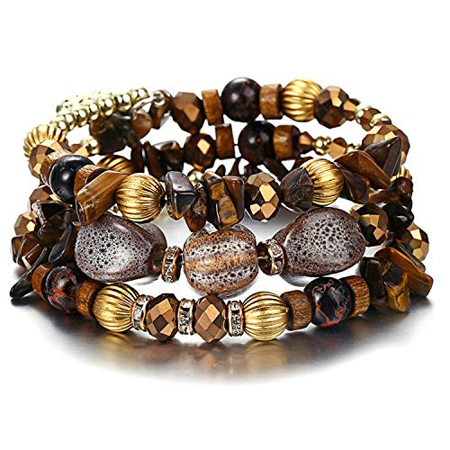 (Stone Beads Bracelets for Women Vintage Crystal Tibetan Ethnic Beaded Wrap Charm Bracelet Bangle Jewelry New)
