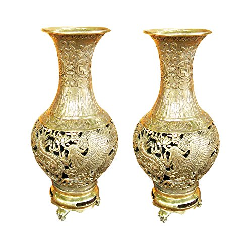 Handmade Brass Dragon&Phoenix Hollow out Carved Three Foot Vase Pair/2pcs Home Decor Gift
