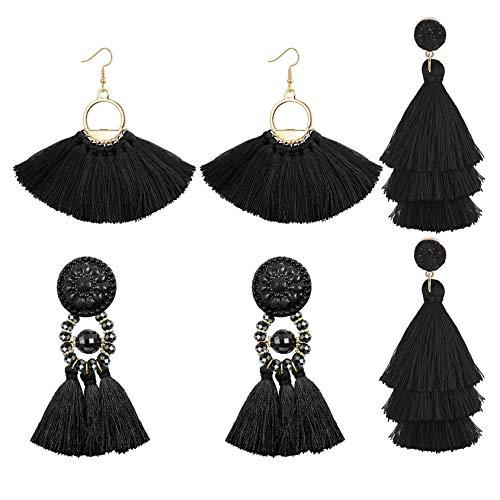 (LOLIAS 3 Pairs Long Thread Tassel Earrings for Women Girls Fashion Dangle Drop Earrings,Black)