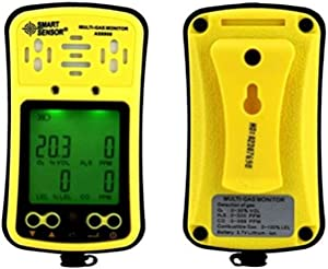 Multi Gas Monitor Handheld Gas Detector Digital LCD Display Backlit Rechargeable Battery Sound Light Alarm Gas Analyzer