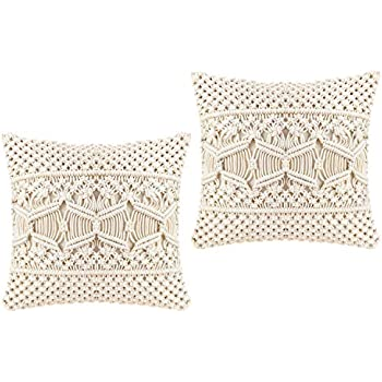 Mkono Throw Pillow Cover Macrame Cushion Case (Pillow Inserts Not Included) Set of 2 Decorative Pillowcase for Bed Sofa Couch Bench Car Boho Home ...