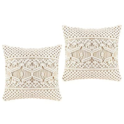 Mkono Throw Pillow Cover Macrame Cushion Case (Pillow Inserts Not Included) Set of 2 Decorative Pillowcase for Bed Sofa Couch Bench Car Boho Home Decor,17 Inches - This macrame throw pillow cover has various usage as pillow indoor and outdoor, bolster for any body part, sleeping, watching TV, in-bed readingand. Perfect for decorating your room in a simple and fashion way. Suitable for living room, bed room, office, cafe, ect, and add a touch of graceful color to your home or any other place. Material: Cotton and fabric, Gorgeous, durable and eco friendly decor. Please notes that pillow inserts and other props are not included! Unique design adds texture and interest to any home decor.This knit pillow cover make a boho vibe on sofa, couch, bench, bed or car. - living-room-soft-furnishings, living-room, decorative-pillows - 51RUj74yIvL. SS400  -