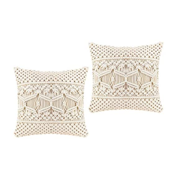 Mkono Throw Pillow Cover Macrame Cushion Case (Pillow Inserts Not Included) Set of 2 Decorative Pillowcase for Bed Sofa Couch Bench Car Boho Home Decor,17 Inches - This macrame throw pillow cover has various usage as pillow indoor and outdoor, bolster for any body part, sleeping, watching TV, in-bed readingand. Perfect for decorating your room in a simple and fashion way. Suitable for living room, bed room, office, cafe, ect, and add a touch of graceful color to your home or any other place. Material: Cotton and fabric, Gorgeous, durable and eco friendly decor. Please notes that pillow inserts and other props are not included! Unique design adds texture and interest to any home decor.This knit pillow cover make a boho vibe on sofa, couch, bench, bed or car. - living-room-soft-furnishings, living-room, decorative-pillows - 51RUj74yIvL. SS570  -