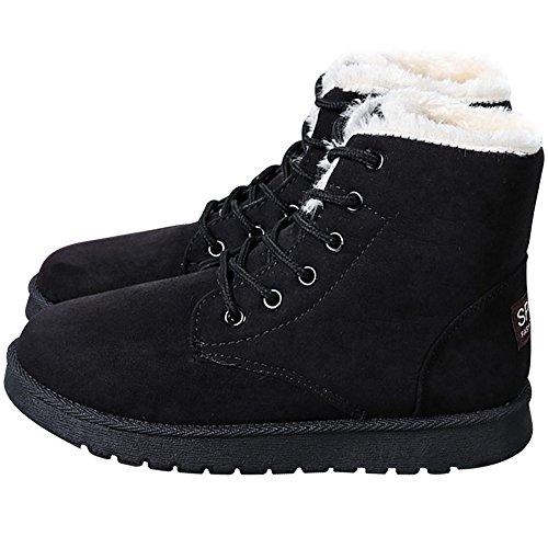 Jackshibo Donna Stivali Invernali In Pelle Scamosciata Stringati Stivali Da Neve In Cotone Moda Scarpe Sneaker Piattaforma Piatta Nero