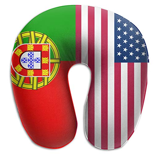 Neck Pillow Travel Pillow USA America Portugal Flag Pillow Supports The Head Plane Pillows, Breathable & Comfortable, Bus Car Office Neck Pillow Washable Cover ()