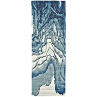 Whimsical Atlantic Ocean Patterned Area Rug, Featuring Graphic Coastal Wavy Water Themed, Runner Indoor Living Area Bedroom Entryway Hallway Carpet, Nature Lover Modern Design, Blue, Size 210 x 710